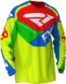 FXR 2020 Podium Air MX Jersey Hi Vis/Blue/Green/Red