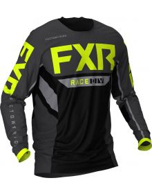 FXR 2021 Podium Off-Road MX Jersey Black/Charcoal/Hi-Vis