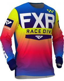 FXR 2020 Helium Pro-Stretch Youth MX Jersey Coral/Blue Fade/Hi Vis