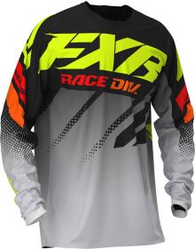 FXR 2020 Clutch Youth MX Jersey Black/Gray Fade/Hi Vis/Red