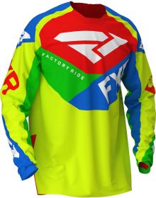 FXR 2020 Clutch Air Youth MX Jersey Hi Vis/Blue/Green/Red