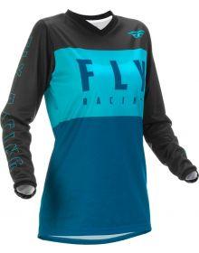 Fly Racing 2022 F-16 Womens Jersey Aqua/Dark Teal/Black