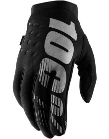 100% Brisker Youth Gloves Black/Gray