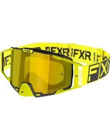 FXR 2021 Pilot MX Goggle Hi-Vis W/Gold Lens