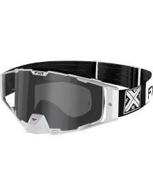FXR 2021 Combat MX Goggle Black/White W/Smoke Lens