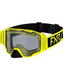FXR 2022 Maverick Clear Youth Snowmobile Goggles Hi Vis/Black