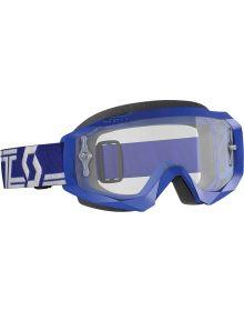 Scott Hustle-X MX Goggles Blue/White W/Clear Lens