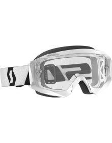 Scott Hustle-X MX Goggles White/Black W/Clear Lens