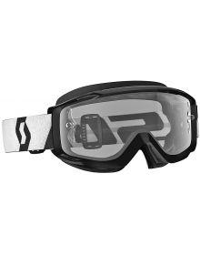 Scott Split OTG Over The Glasses MX Goggles Black/White w/Clear Lens