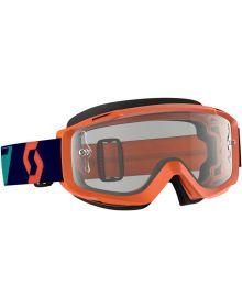 Scott Split OTG Over The Glasses MX Goggles Orange/Blue w/Clear Lens
