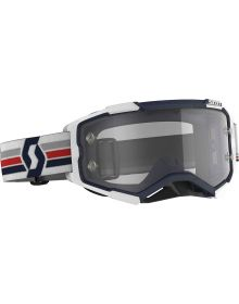 Scott Fury MX Goggles Blue/White w/Clear Lens