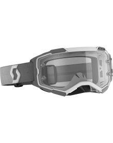 Scott Fury MX Goggles White/Grey w/Clear Lens