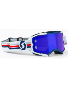 Scott Fury MX Goggles Blue/White w/Blue Chrome Lens