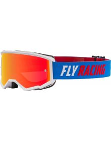 Fly Racing 2021 Zone Youth Goggles Blue/White/Red W/Red Mirror/Smoke Lens W/Post