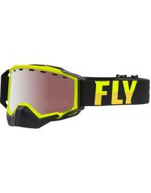 Fly Racing 2021 Zone Pro Snow Goggles Hi-Vis W/Silver Mirror Lens