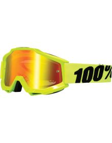 100% Accuri Googles Fluo Yellow w/Red Mirror Lens