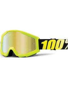 100% Strata Goggles Neon Yellow w/ Gold Mirror Lens
