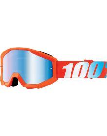 100% Strata Goggles Youth Orange W/Blue Mirror Lens