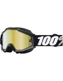 100% Accuri Snow Goggles Tornado W/Gold Mirror Lens