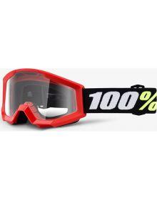 100% Strata Mini Goggles Red W/Clear Lens