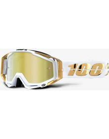 100% Racecraft Goggles LTD White/Gold w/Gold Mirro