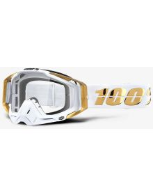 100% Racecraft Goggles LTD White/Gold w/Clear Lens