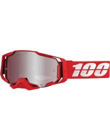 100% Armega Goggles War Red W/Silver Lens