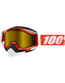 100% Racecraft Snow Goggles Fire Red W/Yellow Lens