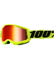 100% Strata Gen2 Goggles Yellow w/Red Mirror Lens