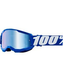 100% Strata Gen2 Youth Goggles Blue W/Blue Mirror Lens