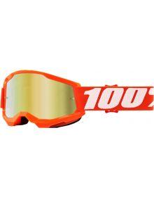 100% Strata Gen2 Youth Goggles Orange W/Gold Mirror Lens