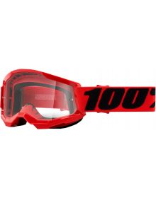100% Strata Gen2 Youth Goggles Red W/Clear Lens