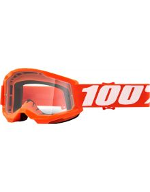 100% Strata Gen2 Youth Goggles Orange W/Clear Lens