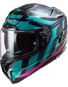 LS2 Challenger Carbon Helmet Flames Gloss Blue Carbon/Blue/Red