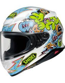 Shoei RF-1400 Mural HelmetWhite/LIght Blue/Hi-Viz