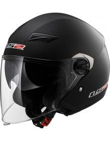 LS2 Helmets Track Open Face Helmet Solid Matte Black