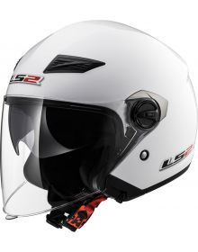LS2 Helmets Track Open Face Helmet Solid Pearl White
