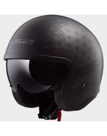 LS2 Helmets Spitfire Open Face Helmet Black Flag