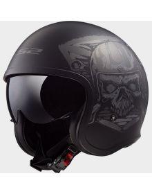 LS2 Helmets Spitfire Open Face Helmet Skull Rider