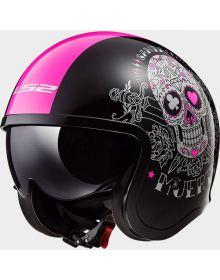 LS2 Helmets Spitfire Open Face Helmet Pink Muerte