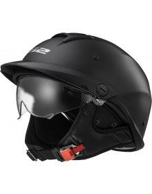 LS2 Helmets Rebellion Half Helmet Solid Matte Black