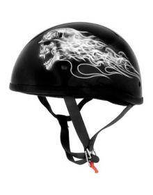 Skid Lid Leathal Threat Half Helmet Biker Skull Black