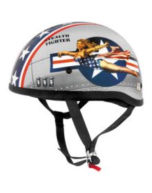 Skid Lid Leathal Threat Half Helmet Bomber Pin Up Silver