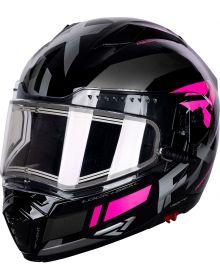 FXR Maverick Modular Team Helmet w/Electric Shield Black/Charcoal/Fuchsia