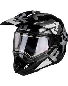 FXR Torque X Evo Helmet w/Electric Shield & Sun Shade Matte Black/White