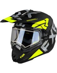 FXR Torque X Evo Helmet w/Electric Shield & Sun Shade Matte Black/Hi-Vis