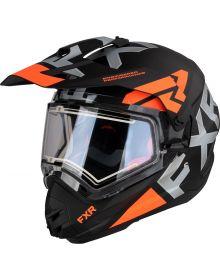 FXR Torque X Evo Helmet w/Electric Shield & Sun Shade Matte Black/Orange