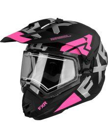 FXR Torque X Evo Helmet w/Electric Shield & Sun Shade Matte Black/Elec. Pink