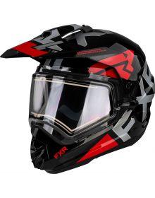 FXR Torque X Evo Helmet w/Electric Shield & Sun Shade Matte Black/Red