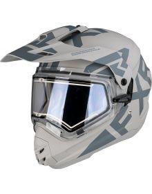 FXR Torque X Evo Helmet w/Electric Shield & Sun Shade Matte Black/Steel